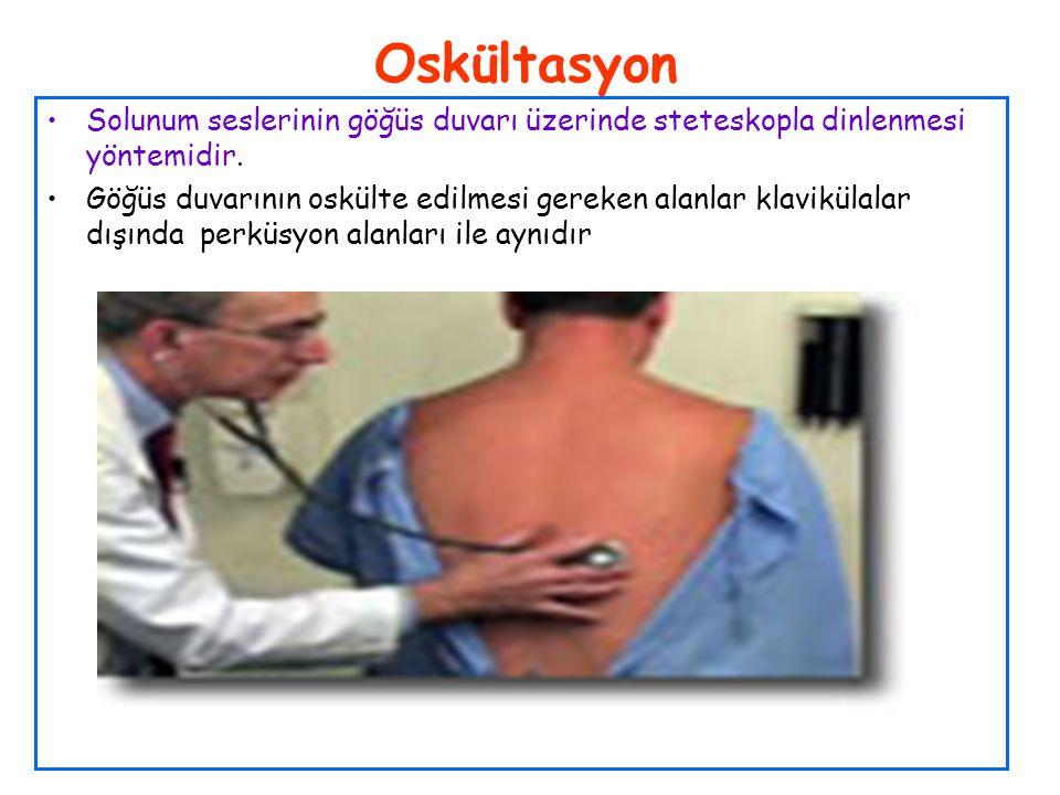 Oskültasyon Solunum seslerinin göğüs duvarı üzerinde steteskopla dinlenmesi yöntemidir.