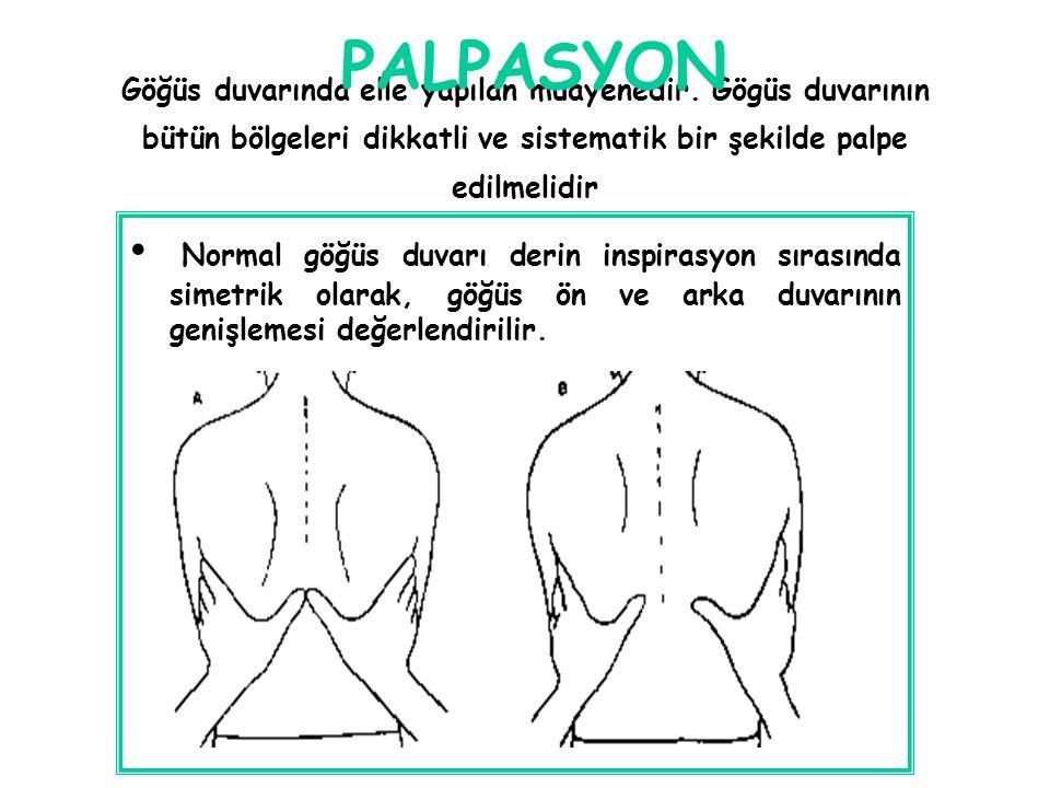 PALPASYON Göğüs duvarında elle yapılan muayenedir. Gögüs duvarının bütün bölgeleri dikkatli ve sistematik bir şekilde palpe edilmelidir.