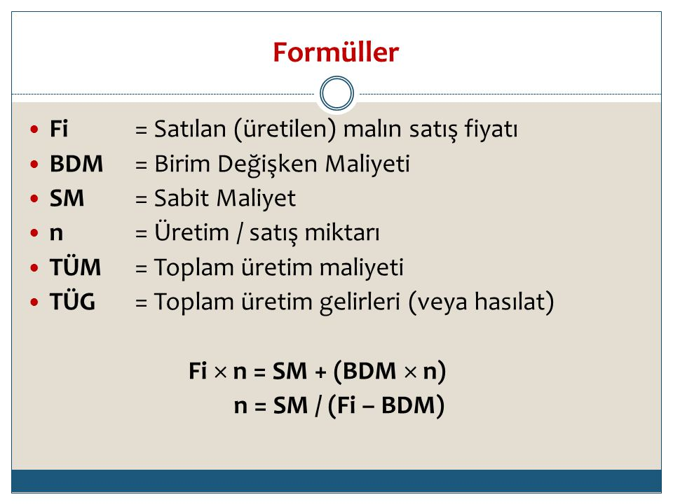 Formüller Fi = Satılan (üretilen) malın satış fiyatı