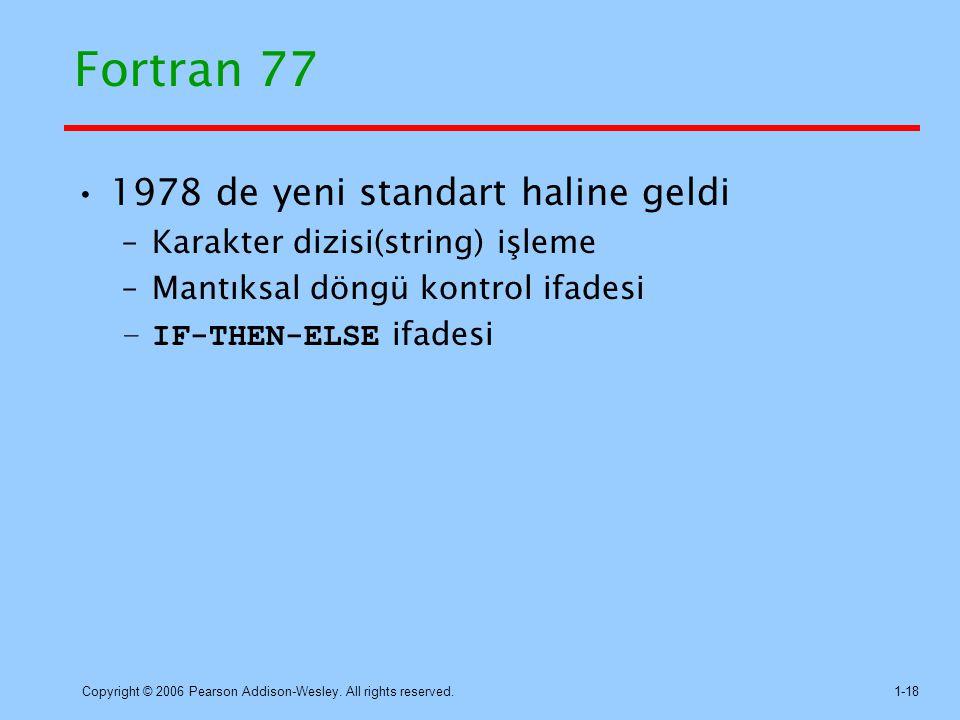 Fortran 77 1978 de yeni standart haline geldi