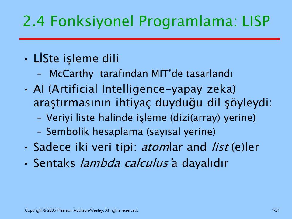 2.4 Fonksiyonel Programlama: LISP