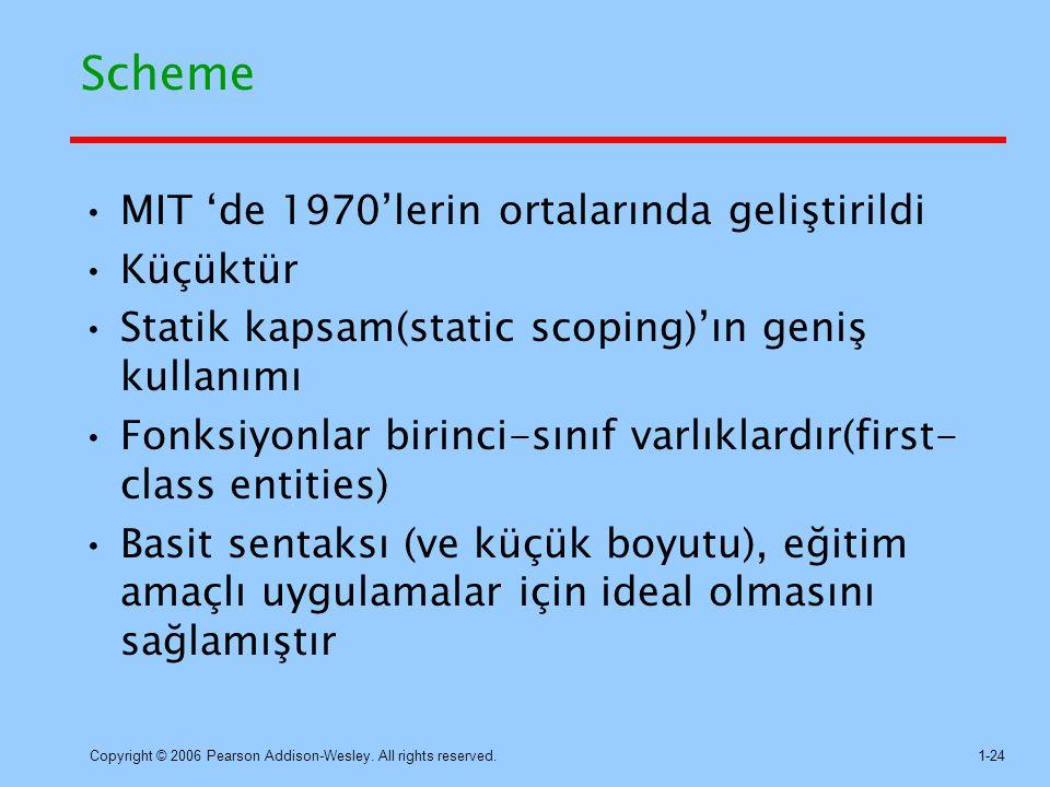 Scheme MIT 'de 1970'lerin ortalarında geliştirildi Küçüktür