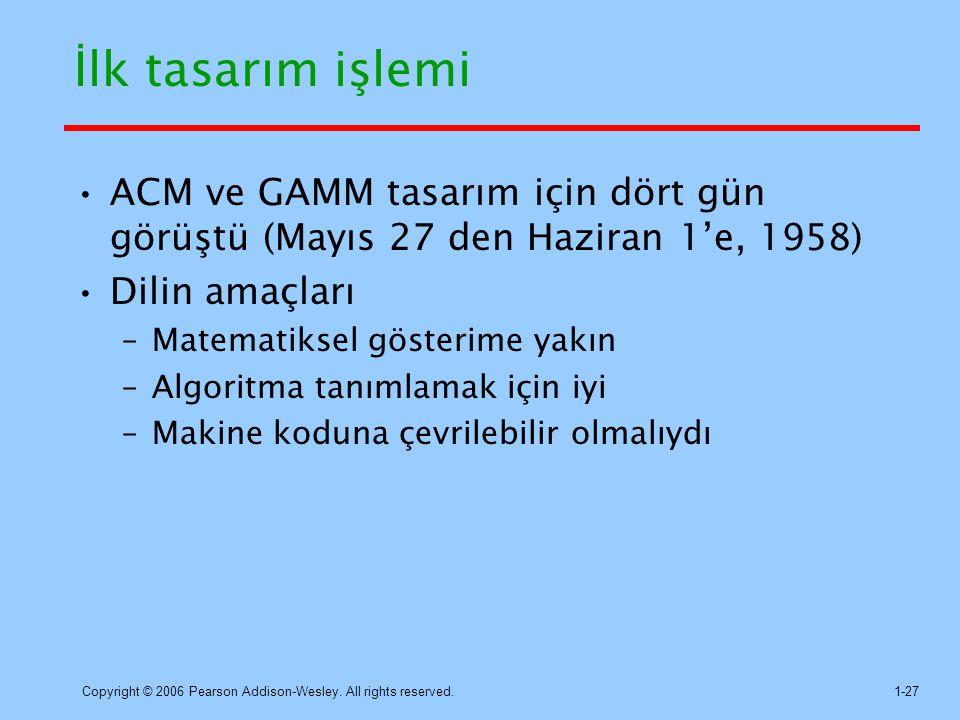 İlk tasarım işlemi ACM ve GAMM tasarım için dört gün görüştü (Mayıs 27 den Haziran 1'e, 1958) Dilin amaçları.