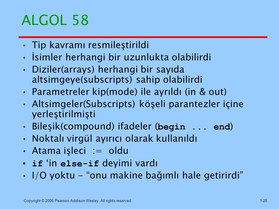 ALGOL 58 Tip kavramı resmileştirildi