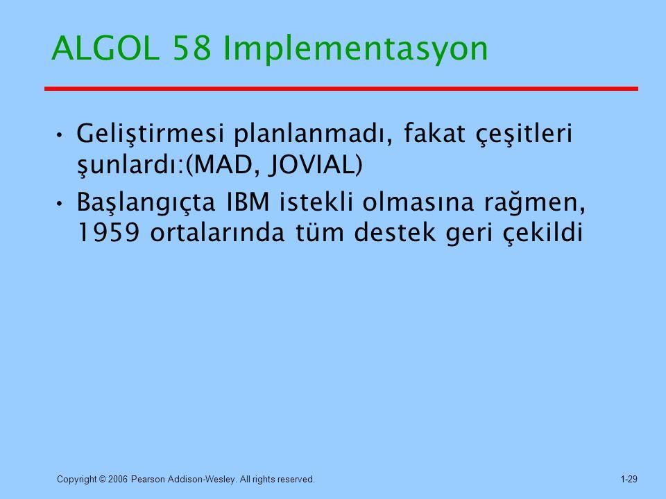 ALGOL 58 Implementasyon Geliştirmesi planlanmadı, fakat çeşitleri şunlardı:(MAD, JOVIAL)