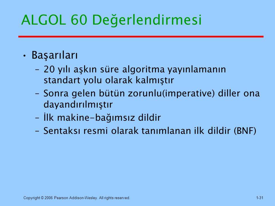ALGOL 60 Değerlendirmesi
