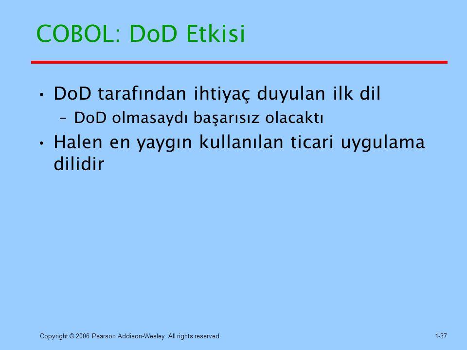 COBOL: DoD Etkisi DoD tarafından ihtiyaç duyulan ilk dil