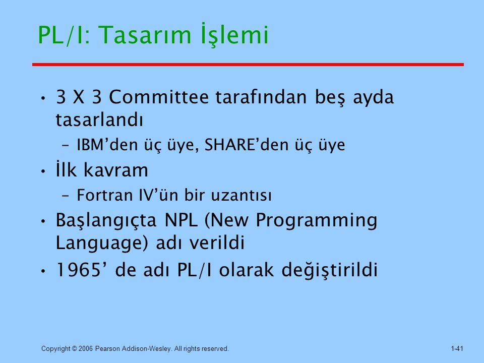 PL/I: Tasarım İşlemi 3 X 3 Committee tarafından beş ayda tasarlandı
