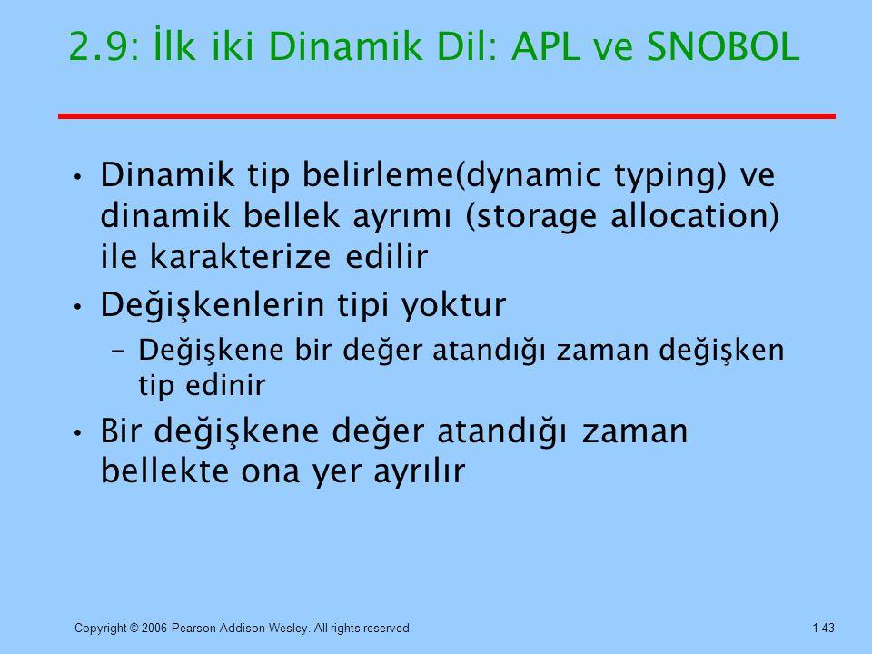 2.9: İlk iki Dinamik Dil: APL ve SNOBOL