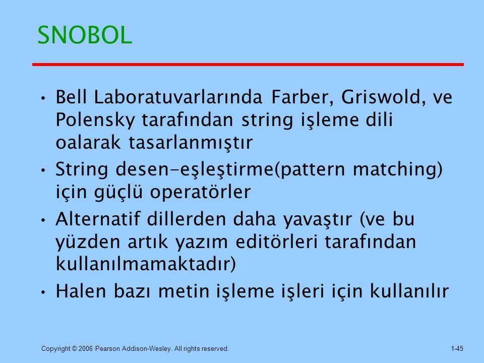 SNOBOL Bell Laboratuvarlarında Farber, Griswold, ve Polensky tarafından string işleme dili oalarak tasarlanmıştır.
