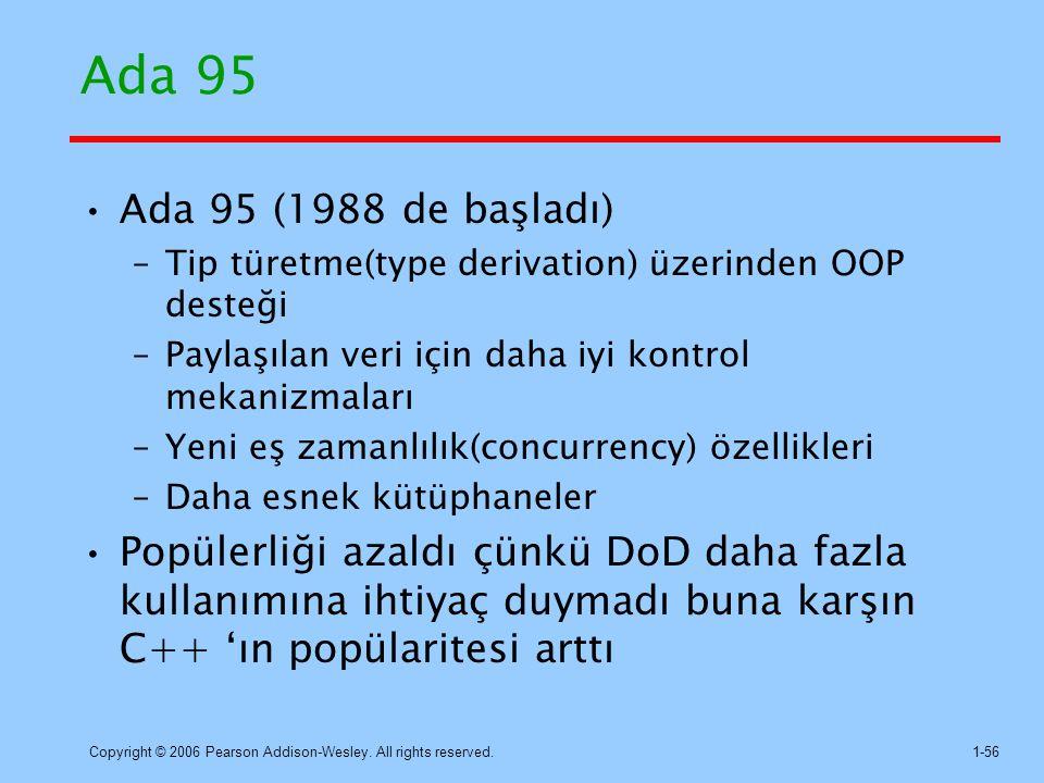 Ada 95 Ada 95 (1988 de başladı) Tip türetme(type derivation) üzerinden OOP desteği. Paylaşılan veri için daha iyi kontrol mekanizmaları.