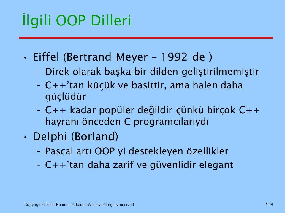 İlgili OOP Dilleri Eiffel (Bertrand Meyer – 1992 de ) Delphi (Borland)