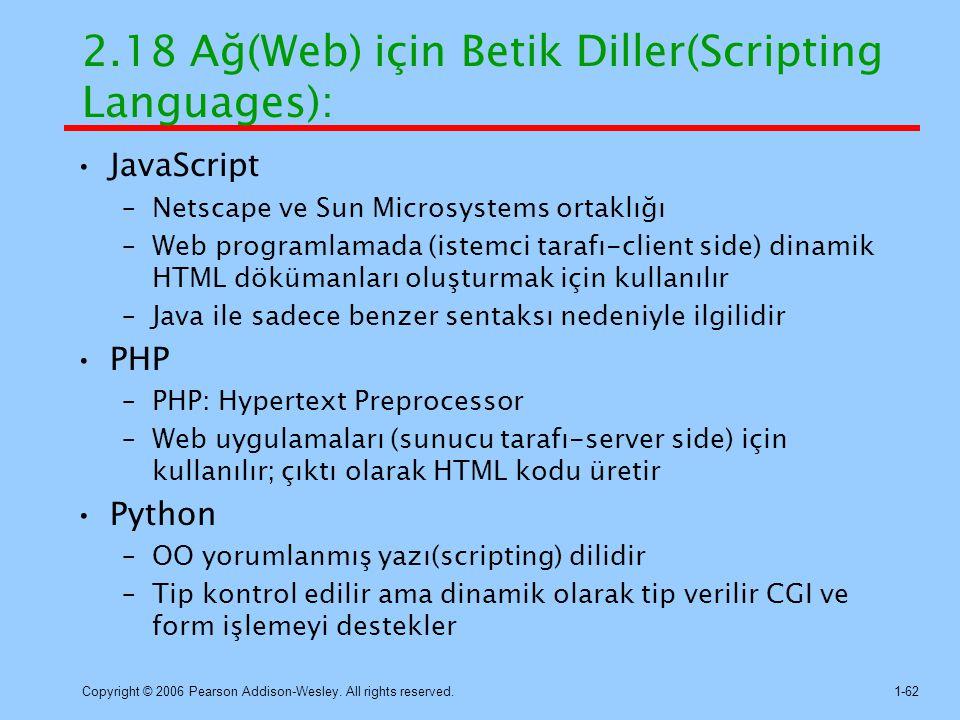 2.18 Ağ(Web) için Betik Diller(Scripting Languages):