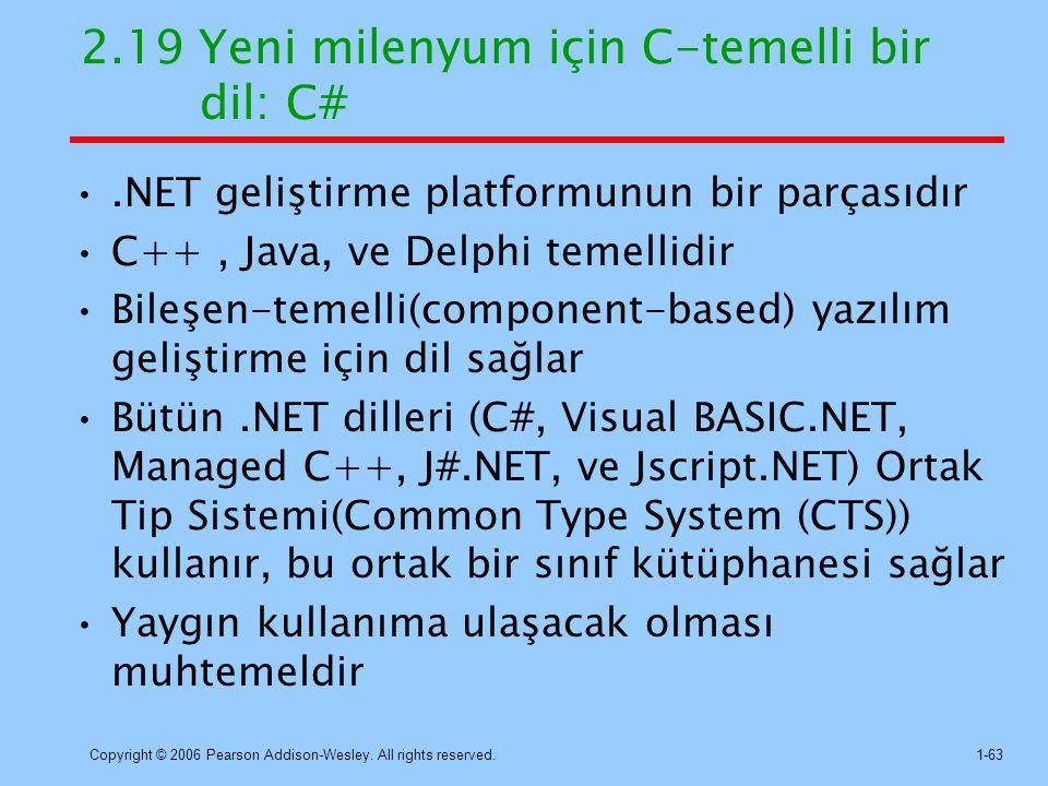 2.19 Yeni milenyum için C-temelli bir dil: C#