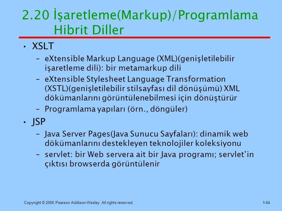 2.20 İşaretleme(Markup)/Programlama Hibrit Diller