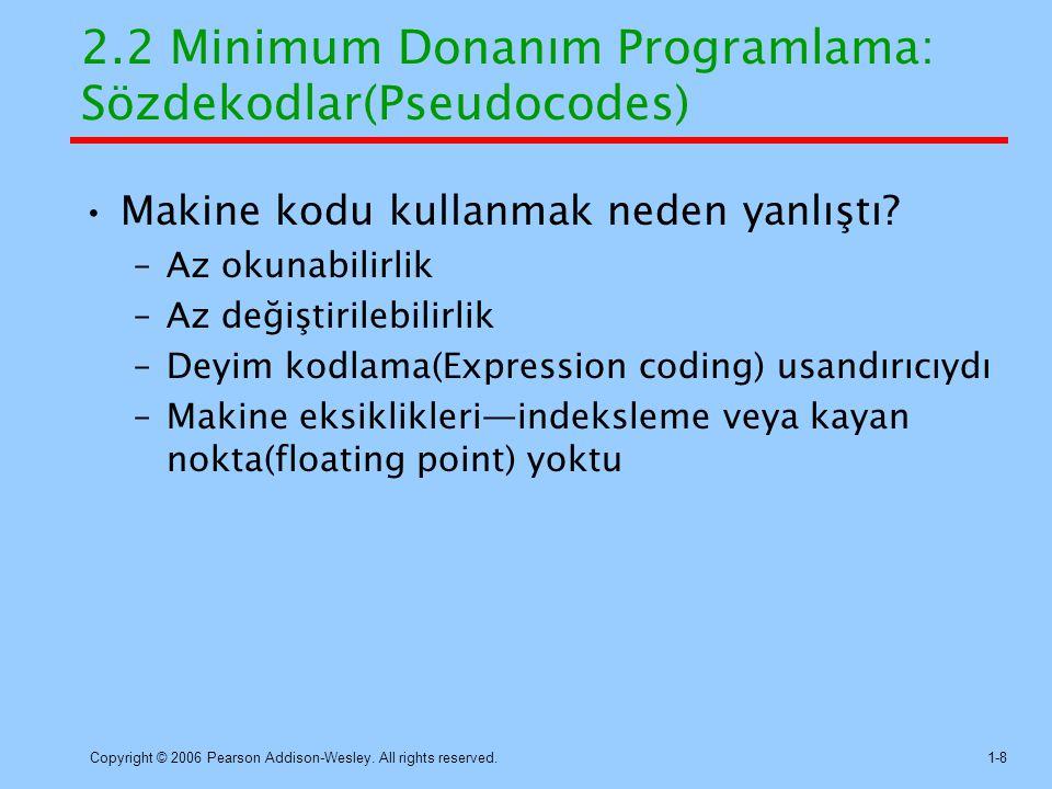 2.2 Minimum Donanım Programlama: Sözdekodlar(Pseudocodes)