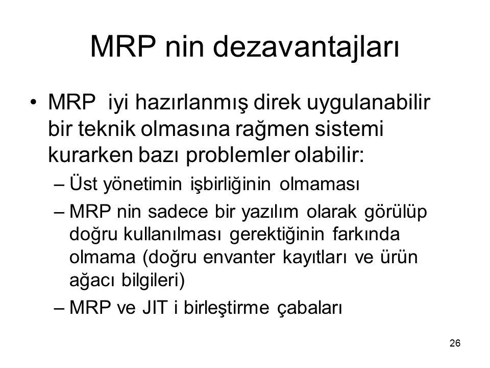 MRP nin dezavantajları