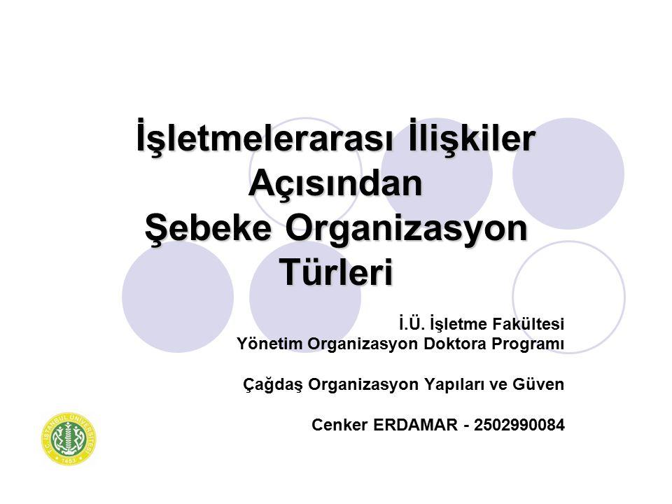 İşletmelerarası İlişkiler Açısından Şebeke Organizasyon Türleri