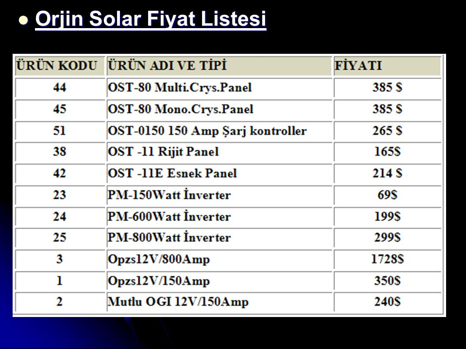 Orjin Solar Fiyat Listesi