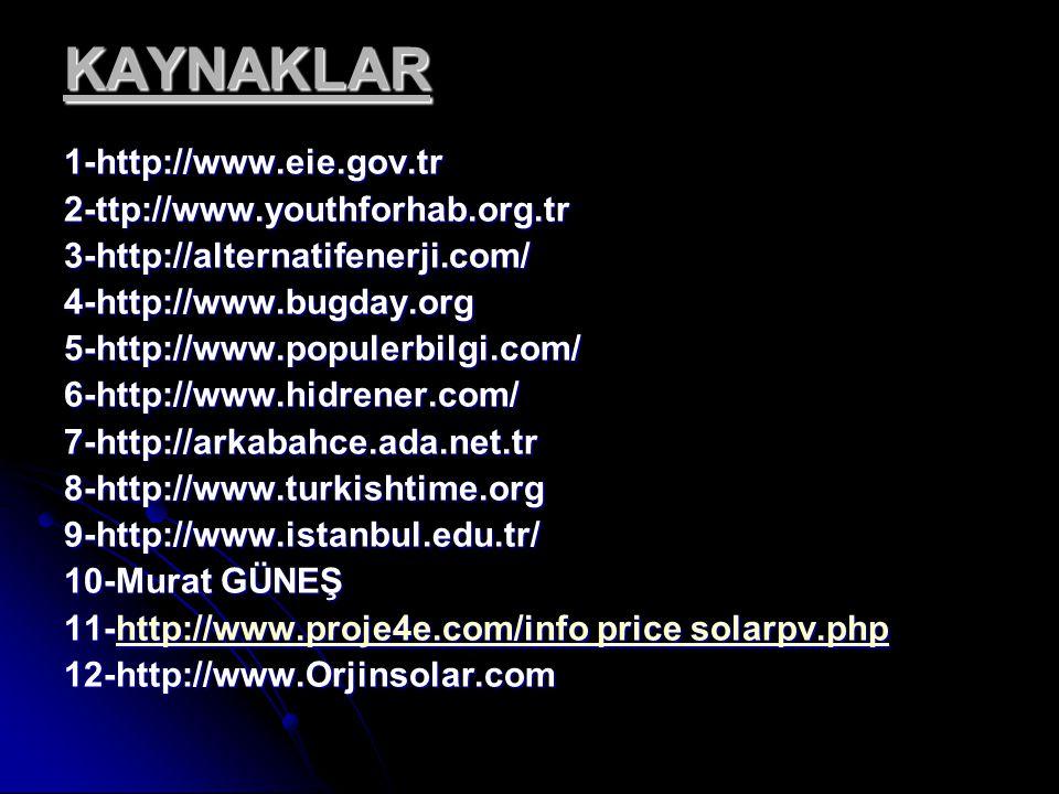 KAYNAKLAR 1-http://www.eie.gov.tr 2-ttp://www.youthforhab.org.tr