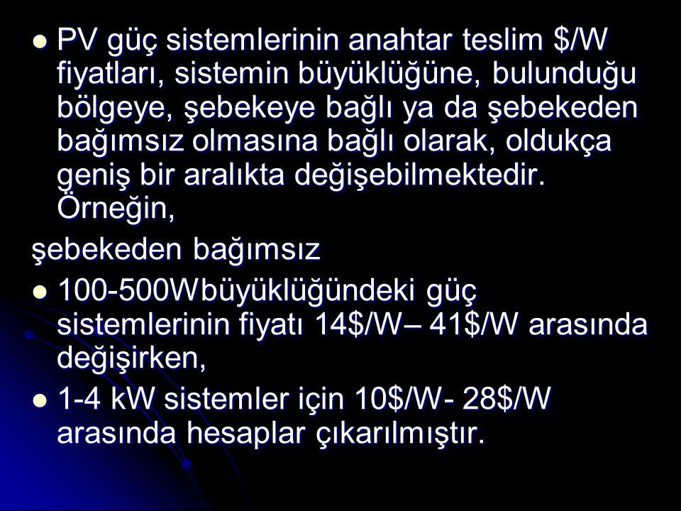 PV güç sistemlerinin anahtar teslim $/W fiyatları, sistemin büyüklüğüne, bulunduğu bölgeye, şebekeye bağlı ya da şebekeden bağımsız olmasına bağlı olarak, oldukça geniş bir aralıkta değişebilmektedir. Örneğin,