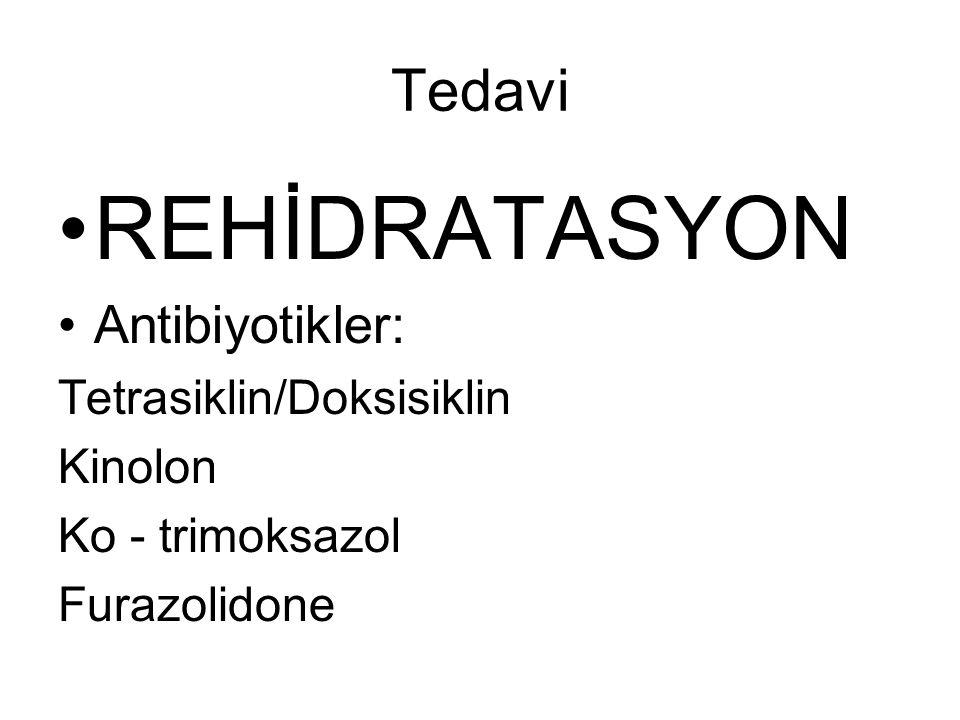 REHİDRATASYON Tedavi Antibiyotikler: Tetrasiklin/Doksisiklin Kinolon