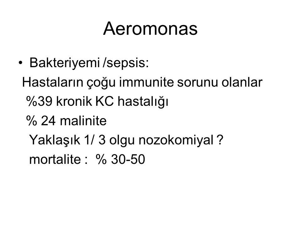 Aeromonas Bakteriyemi /sepsis: Hastaların çoğu immunite sorunu olanlar
