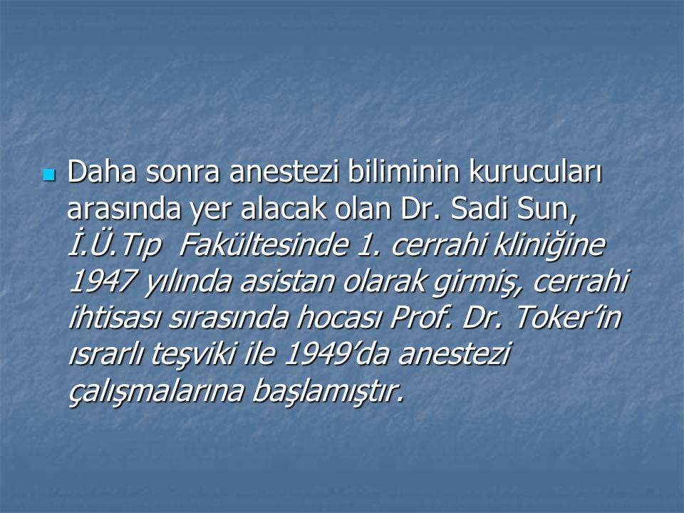 Daha sonra anestezi biliminin kurucuları arasında yer alacak olan Dr