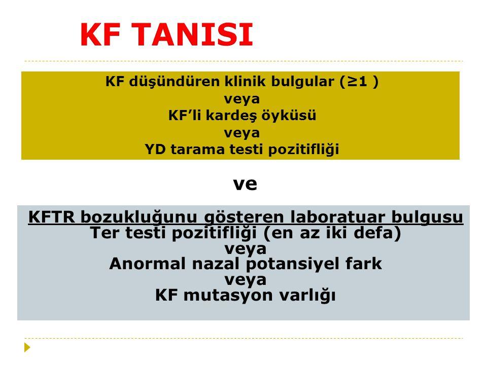 KF TANISI ve KFTR bozukluğunu gösteren laboratuar bulgusu