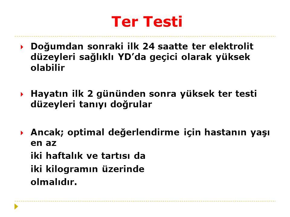 Ter Testi Doğumdan sonraki ilk 24 saatte ter elektrolit düzeyleri sağlıklı YD'da geçici olarak yüksek olabilir.