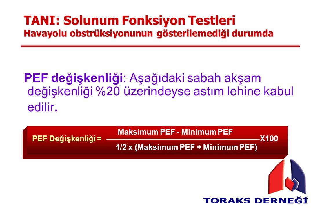 TANI: Solunum Fonksiyon Testleri Havayolu obstrüksiyonunun gösterilemediği durumda