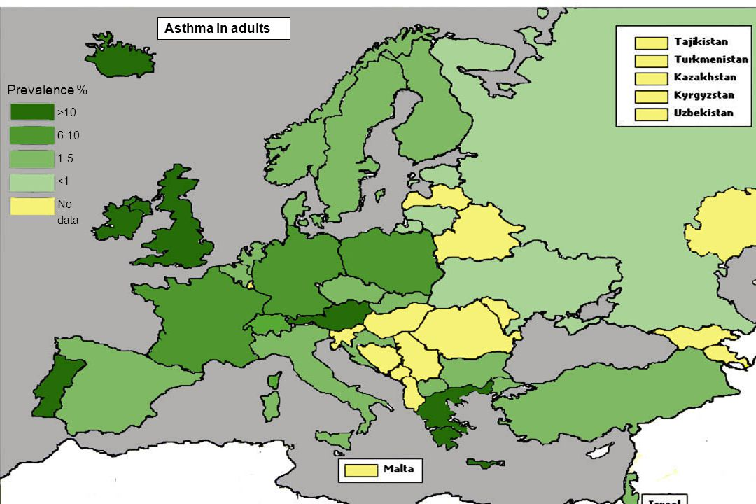 Asthma in adults Prevalence % >10 6-10 1-5 <1 No data