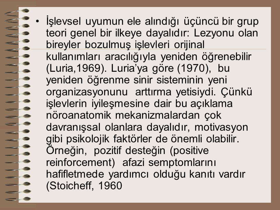 İşlevsel uyumun ele alındığı üçüncü bir grup teori genel bir ilkeye dayalıdır: Lezyonu olan bireyler bozulmuş işlevleri orijinal kullanımları aracılığıyla yeniden öğrenebilir (Luria,1969).