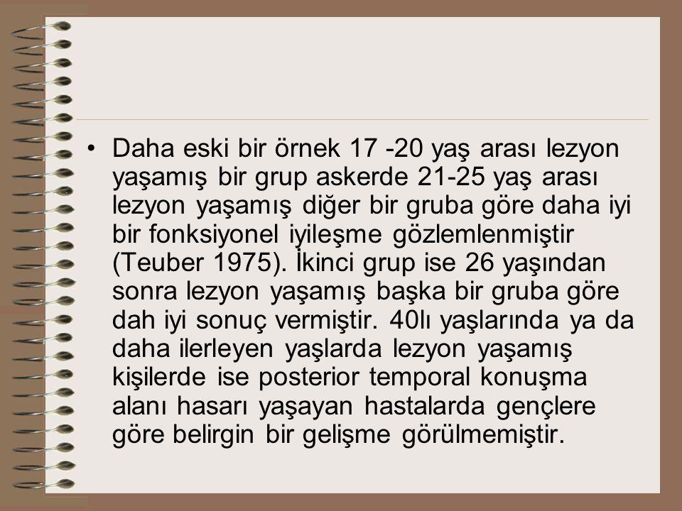Daha eski bir örnek 17 -20 yaş arası lezyon yaşamış bir grup askerde 21-25 yaş arası lezyon yaşamış diğer bir gruba göre daha iyi bir fonksiyonel iyileşme gözlemlenmiştir (Teuber 1975).
