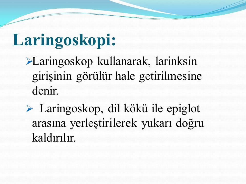 Laringoskopi: Laringoskop kullanarak, larinksin girişinin görülür hale getirilmesine denir.