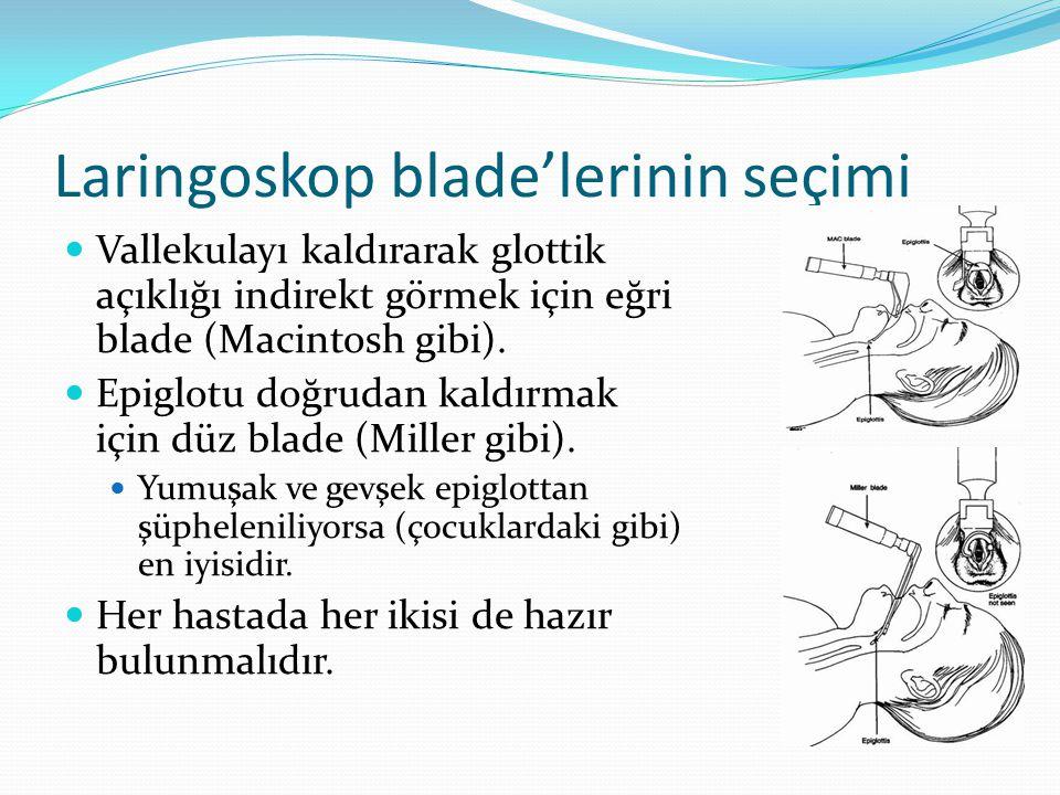 Laringoskop blade'lerinin seçimi