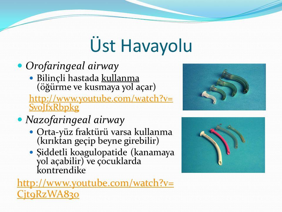 Üst Havayolu Orofaringeal airway Nazofaringeal airway
