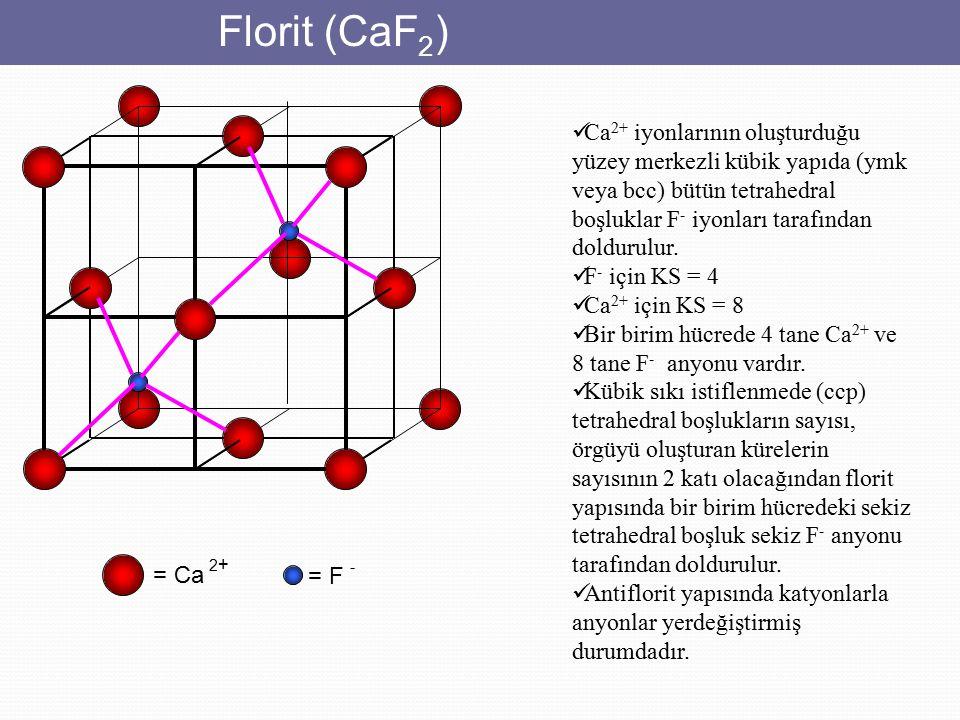 Florit (CaF2) Ca2+ iyonlarının oluşturduğu yüzey merkezli kübik yapıda (ymk veya bcc) bütün tetrahedral boşluklar F- iyonları tarafından doldurulur.