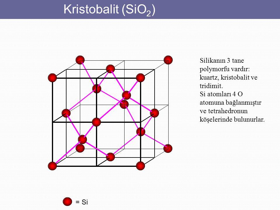 Kristobalit (SiO2) Silikanın 3 tane polymorfu vardır: kuartz, kristobalit ve tridimit.