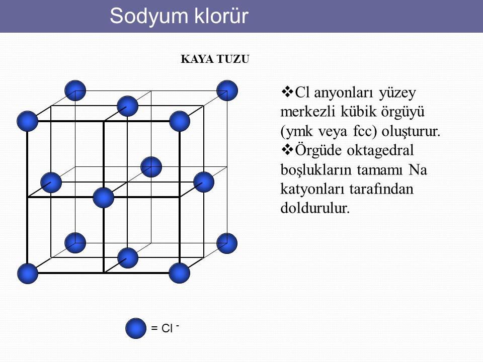 Sodyum klorür KAYA TUZU. Cl anyonları yüzey merkezli kübik örgüyü (ymk veya fcc) oluşturur.