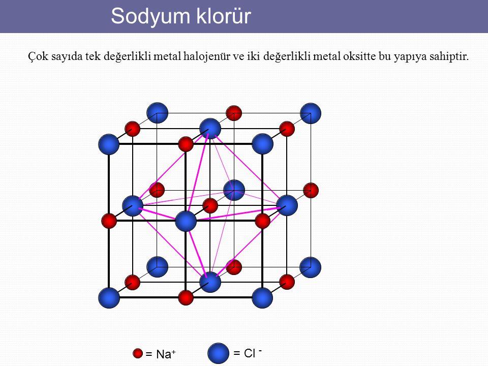 Sodyum klorür Çok sayıda tek değerlikli metal halojenür ve iki değerlikli metal oksitte bu yapıya sahiptir.