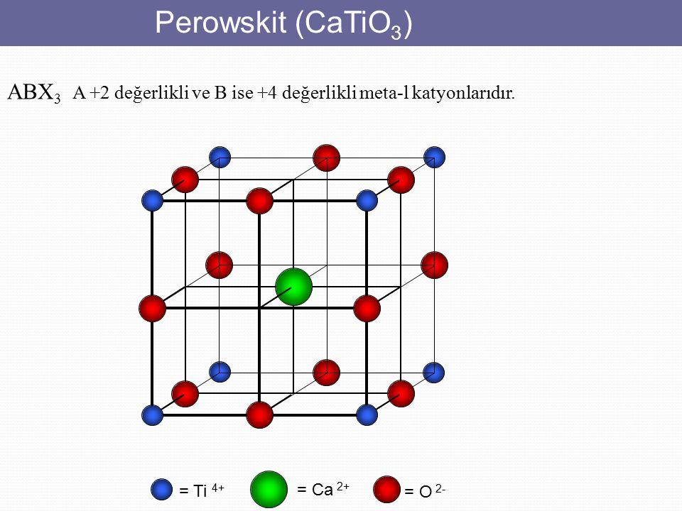 Perowskit (CaTiO3) ABX3 A +2 değerlikli ve B ise +4 değerlikli meta-l katyonlarıdır. = Ti 4+ = Ca 2+