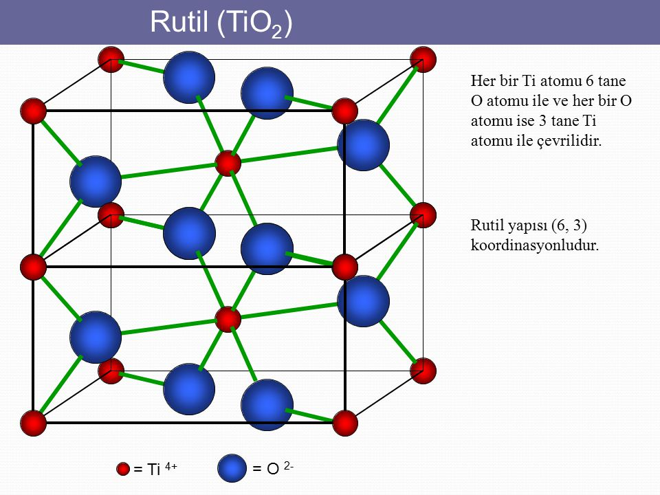 Rutil (TiO2) Her bir Ti atomu 6 tane O atomu ile ve her bir O atomu ise 3 tane Ti atomu ile çevrilidir.