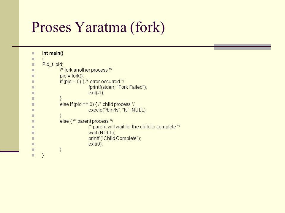 Proses Yaratma (fork) int main() { Pid_t pid;