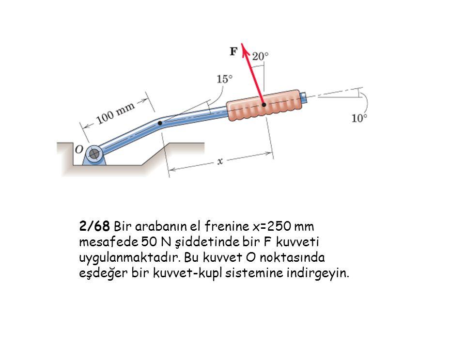 2/68 Bir arabanın el frenine x=250 mm mesafede 50 N şiddetinde bir F kuvveti uygulanmaktadır.