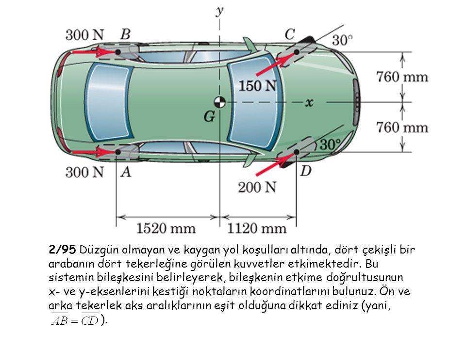 2/95 Düzgün olmayan ve kaygan yol koşulları altında, dört çekişli bir arabanın dört tekerleğine görülen kuvvetler etkimektedir. Bu sistemin bileşkesini belirleyerek, bileşkenin etkime doğrultusunun x- ve y-eksenlerini kestiği noktaların koordinatlarını bulunuz. Ön ve arka tekerlek aks aralıklarının eşit olduğuna dikkat ediniz (yani,