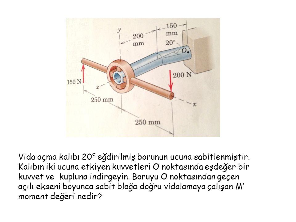 Vida açma kalıbı 20° eğdirilmiş borunun ucuna sabitlenmiştir