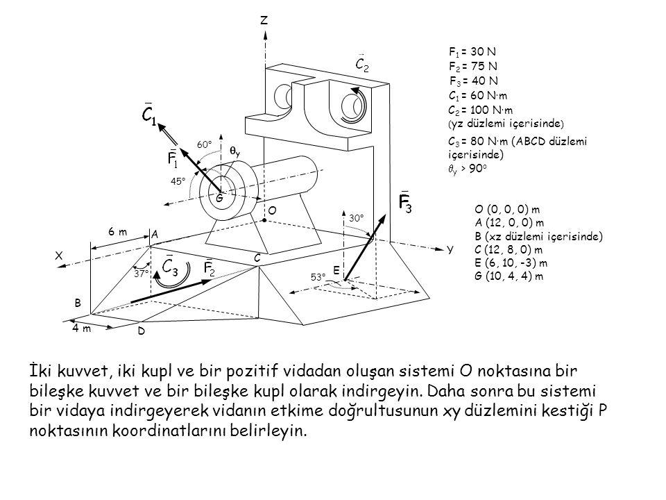 A B. C. O. D. E. G. 37° X. Y. Z. 45° 60° qy. 53° 30° 6 m. 4 m. C3 = 80 Nm (ABCD düzlemi içerisinde)