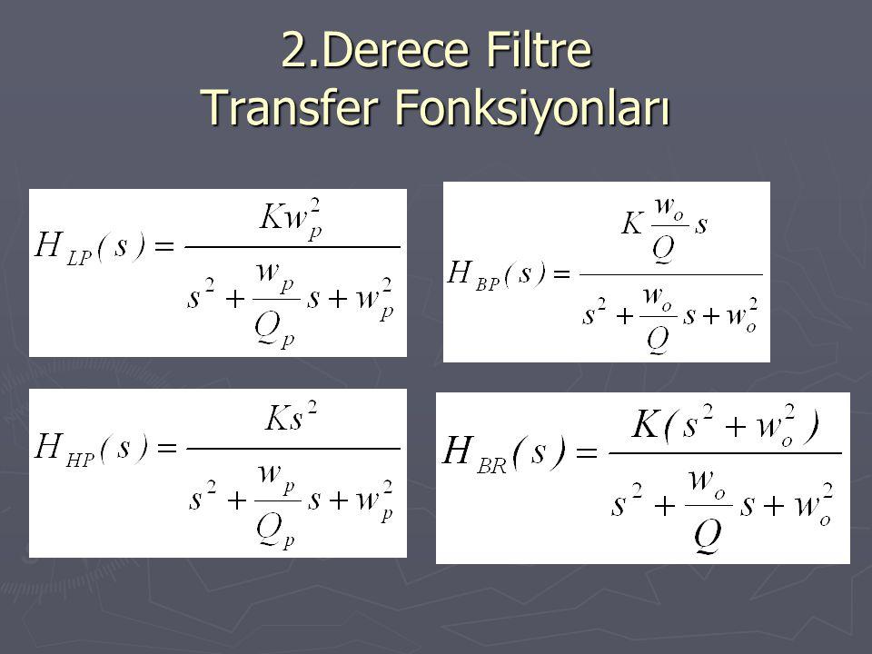 2.Derece Filtre Transfer Fonksiyonları
