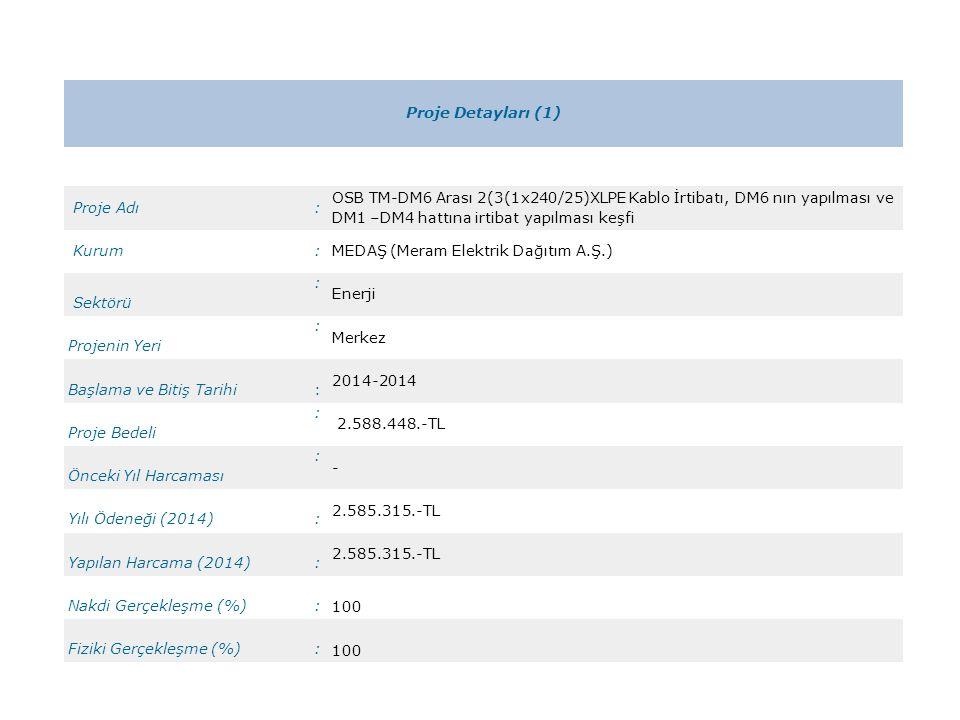 Proje Detayları (1) Proje Adı. : OSB TM-DM6 Arası 2(3(1x240/25)XLPE Kablo İrtibatı, DM6 nın yapılması ve DM1 –DM4 hattına irtibat yapılması keşfi.